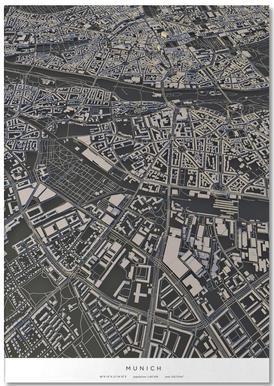 Munich City Map Notepad