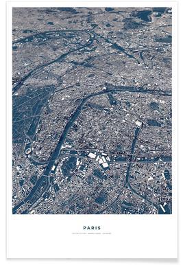 Parijs - 3-D kaart Poster
