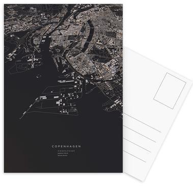 Copenhagen City Map Postcard Set