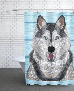 Happy Husky -Duschvorhang