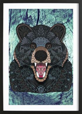 Ornate Black Bear Poster in houten lijst