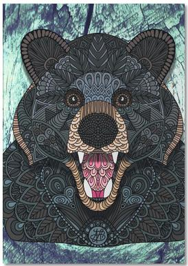 Ornate Black Bear Notepad