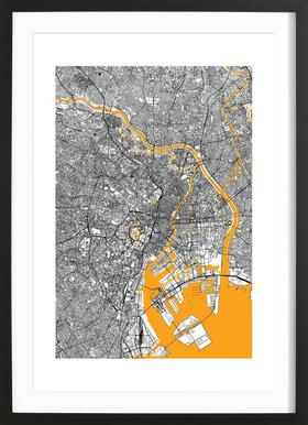 Orange Infusion In Tokio Poster in houten lijst