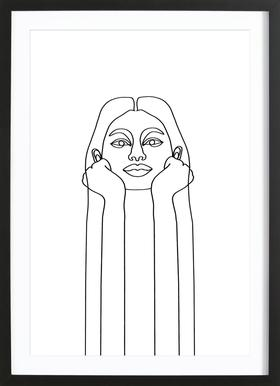 Curious Girl Poster in Wooden Frame