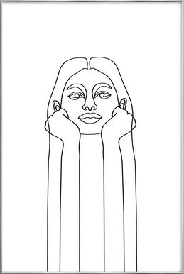 Curious Girl Poster im Alurahmen