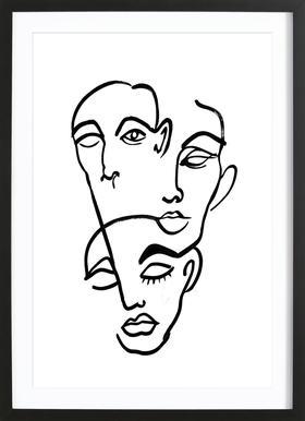 Faces 12 Poster im Holzrahmen
