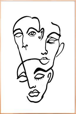 Faces 12 Poster im Alurahmen