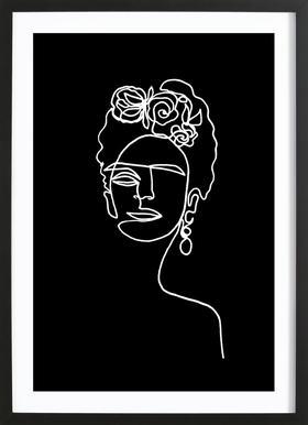 Frida Kahlo BW -Bild mit Holzrahmen