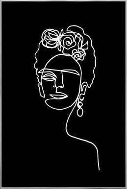 Frida Kahlo BW Poster im Alurahmen