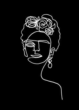 Frida Kahlo BW Leinwandbild