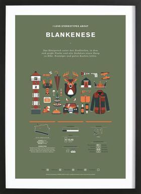 Blankenese Poster in Wooden Frame