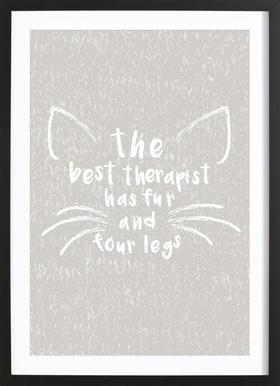 Cat Love Poster im Holzrahmen