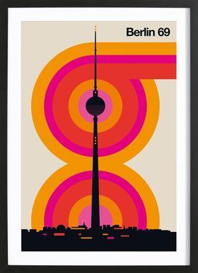 Berlin 69 affiche sous cadre en bois