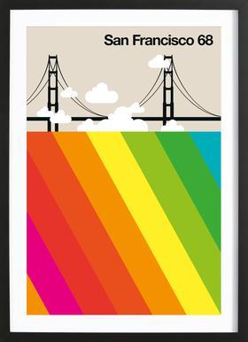 San Francisco 68 Poster in houten lijst