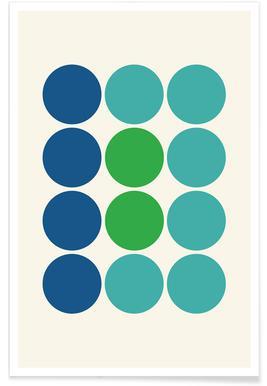 Blue and Green Circles Poster