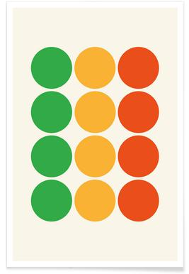 Orange and Green Circles Poster