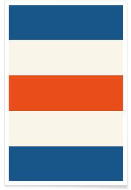 Blaue und orange Streifen -Poster