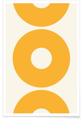 Yellow Sun Circles Poster