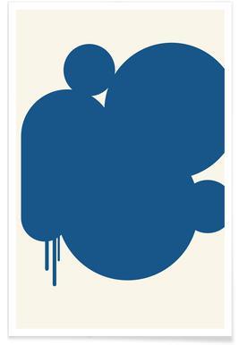 Blaue Regenpfützen -Poster