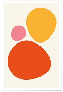 Orange-bunte-Kieselsteine -Poster