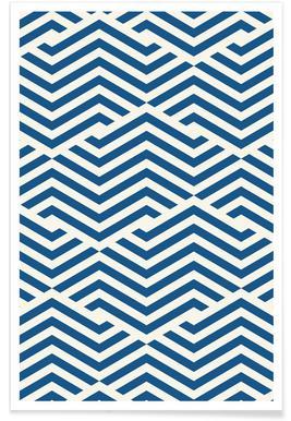 Blue Angular Lines Poster