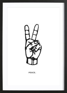 Peace Affiche sous cadre en bois