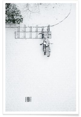 Winter White Bikes Poster