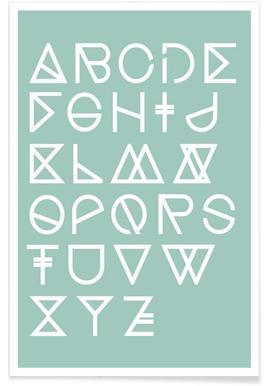Geometrical ABC - mint Affiche