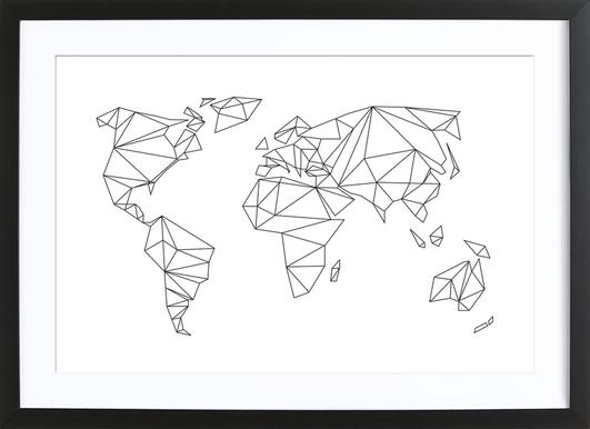 Buy framed world map prints and art online juniqe uk geometrical world white studio nahili poster in wooden frame gumiabroncs Image collections