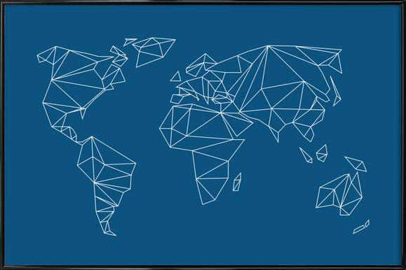 Buy framed world map posters online juniqe uk geometrical world indigo studio nahili poster in standard frame gumiabroncs Gallery