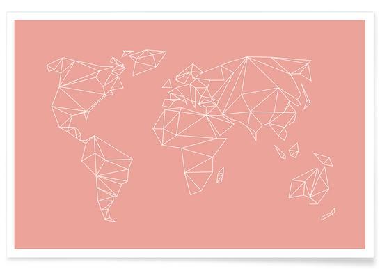 Geometrical World Blush Poster