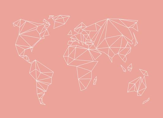 Buy world map canvas prints and art online juniqe uk geometrical world blush studio nahili canvas print gumiabroncs Gallery
