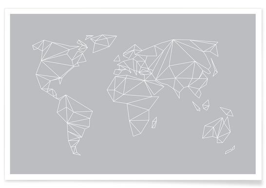 Geometrical World Grey Poster