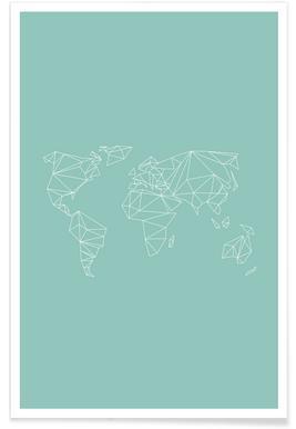 Geometrical World Green 2 Poster