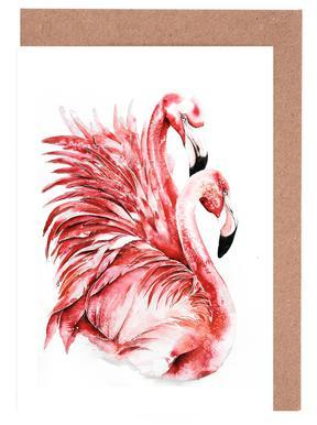 Pink Flamingo II Set de cartes de vœux