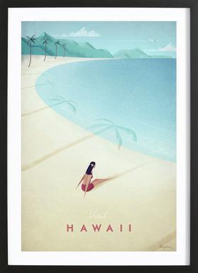 Hawaii affiche sous cadre en bois