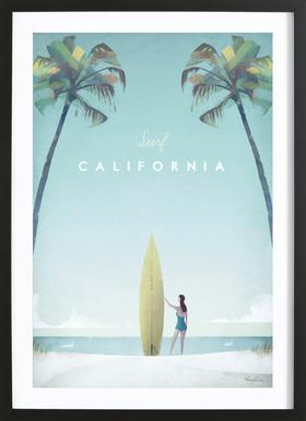 California Affiche sous cadre en bois