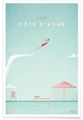 Vintage-Côte d'Azur-Reise -Poster