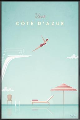 Côte d'Azur Poster im Kunststoffrahmen