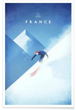 Vintage-Ski-Frankreich-Reise Poster