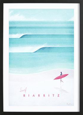 Biarritz Affiche sous cadre en bois