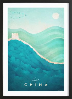 China Poster im Holzrahmen