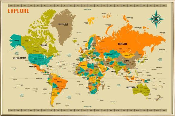 New World Map als Poster von Jazzberry Blue | JUNIQE CH