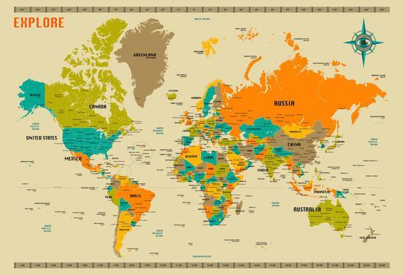 Buy aluminium world map prints and alu dibond online juniqe uk new world map jazzberry blue aluminium print gumiabroncs Gallery