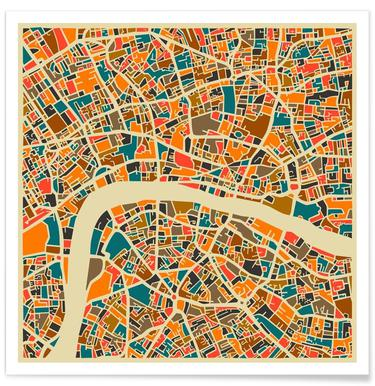 Londres - Carte colorée Affiche