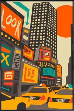 Time Square day affiche encadrée
