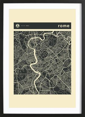 City Maps Series 3 Series 3 - Rome Poster im Holzrahmen