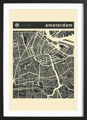 City Maps Series 3 - Amsterdam Poster im Holzrahmen