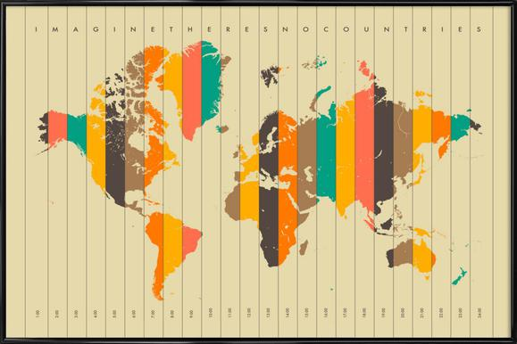 Buy framed world map posters online juniqe uk imagine theres no countries beige jazzberry blue poster in standard frame gumiabroncs Image collections