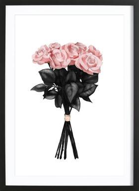 Pink Bouquet affiche sous cadre en bois